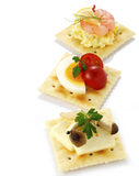 Canape. Three canapes on white background Stock Photos
