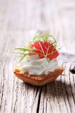 Canape. Pastry-based canape with savory spread and caviar stock photography