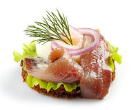 Canape with anchovy and egg Royalty Free Stock Photo