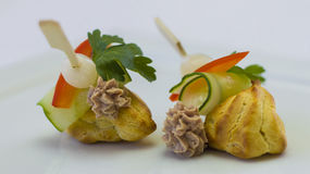Canape for banquet. Canape for a banquet with sause Royalty Free Stock Image