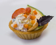 Canape for banquet. Canape for a banquet with sause Royalty Free Stock Images