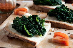 Canape with black cabbage pepper Stock Photos