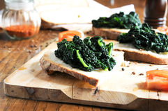 Canape with black cabbage pepper Stock Photo