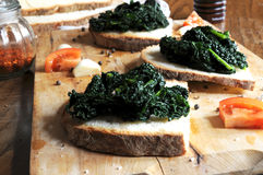 Canape with black cabbage pepper Royalty Free Stock Photos