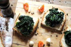 Canape with black cabbage pepper Stock Image