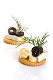Canape with Brie Cheese and Olives Stock Image