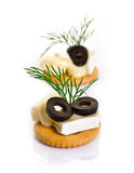 Canape with Brie Cheese and Olives Royalty Free Stock Photos