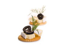 Canape with Brie Cheese and Olives Royalty Free Stock Image