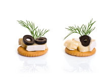 Canape with Brie Cheese and Olives Royalty Free Stock Images
