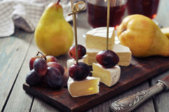 Canape with camembert Royalty Free Stock Images