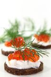 Canape with caviar Stock Photo