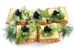 Canape with cheese Stock Photography
