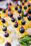 Canape with cheese. Closeup on table Royalty Free Stock Image