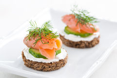 Canape with cheese, cucumber and salmon Stock Images