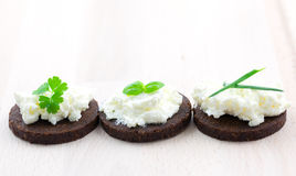 Canape with cheese and herbs Royalty Free Stock Photo
