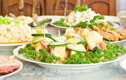 Canape with cheese and mushrooms Royalty Free Stock Images