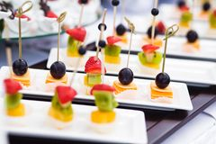 Canape with cheese and olives. On plate Royalty Free Stock Photography