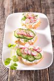 Canape with cheese,radish Royalty Free Stock Images