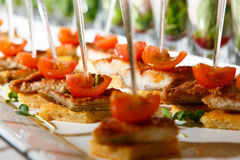 Canape cherry tomatoes meat plate catering. Canape red cherry tomatoes meat small plate catering Stock Images