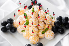 Canape with coconut crumb Stock Photo