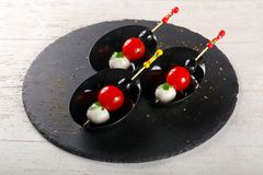 Canape com tomate e mozarella Foto de Stock Royalty Free