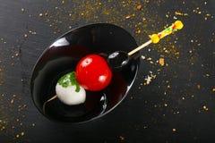 Canape com tomate e mozarella Imagens de Stock