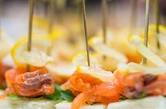 Canape con il coriandolo del limone e del salmone Immagini Stock