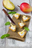 Canape with cottage cheese and mango Royalty Free Stock Photos