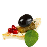 Canape with cucumber and olives. Royalty Free Stock Image