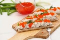 Canape da pasta com caviar Imagens de Stock