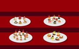 Canape dans le pâté sur la table rouge illustration libre de droits