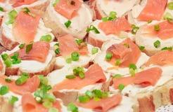Canape de saumons fumés photographie stock