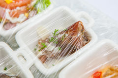 Canape ; Decoration and foods that are wrapped with plastic Stock Image