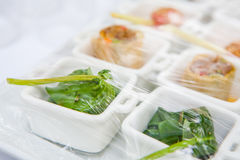 Canape ; Decoration and foods that are wrapped with plastic Royalty Free Stock Images