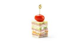 Canape del jamón, del queso, de la zanahoria y del pepino, tiro del estudio Imagen de archivo