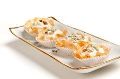 Canape della noce e del formaggio blu Immagine Stock