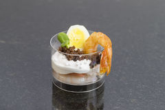 Canape desserts and snack. In plastic cups Royalty Free Stock Photo