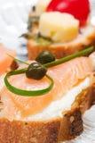 Canape di color salmone squisito Immagini Stock Libere da Diritti