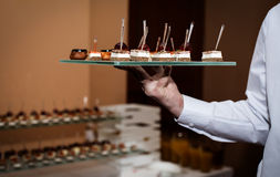 Canape dish held by waiter Royalty Free Stock Photography