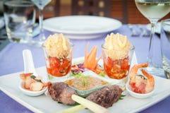 Canape do aperitivo do espeto de Satay da carne foto de stock royalty free