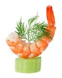 Canape do camarão com o galho do aipo e do aneto Imagem de Stock Royalty Free