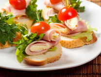 Canape do presunto Foto de Stock Royalty Free