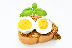 Canape with egg. Canape with grained mustard and hard-boiled egg royalty free stock images
