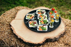 Canape, fish with salad on the small plates. All exposed wood on the end of it, standing on the bale of hay stock photos