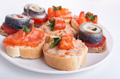 Canape Fish Sandwiches Royalty Free Stock Images