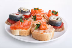 Canape Fish Sandwiches Stock Photo