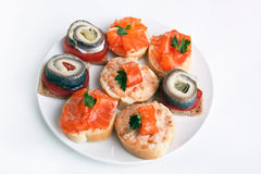 Canape Fish Sandwiches Stock Photography