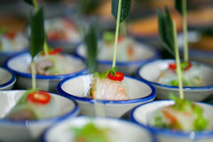 canape with fresh spring rolls royalty free stock image