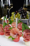 Canape gammon and salami Royalty Free Stock Photo