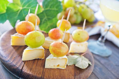 Canape. With grape and cheese stock photo